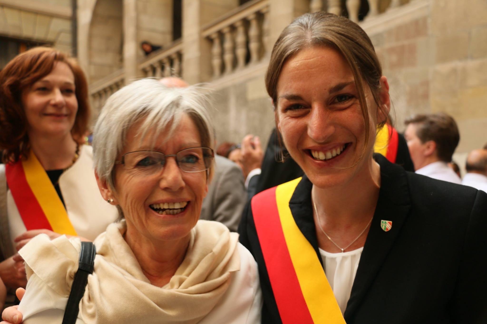 Monique Boget, conseillère administrative sortante avec Nathalie Leuenberger qui lieu succède